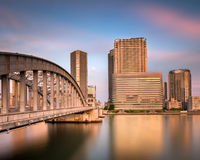 Kachidoki Bridge and Sumida River at Sunset, Tokyo Stock Photo