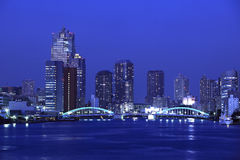 Kachidoki Bridge and Sumida River in Tokyo, Japan.  Royalty Free Stock Image