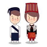 Kachin Myanmar traditional national clothes south east asia. Set of cartoon characters in traditional costume. Cute vector illustration