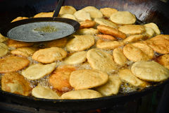 Kachori being fried in sweetshop Indian streetfood Royalty Free Stock Images
