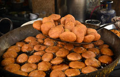 Kachori being made in sweet stall Royalty Free Stock Photos