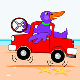 Kaczka jedzie ciężarówkę ilustracja wektor