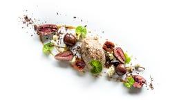 Kaczka Rillet z kaczek sercami, Błękitnym serem, wiśniami & czekoladą, Fotografia Royalty Free