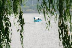 Kaczki łódź na jeziorze poza zieleni drzewni liście Fotografia Stock