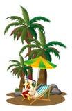 Kaczki czytanie blisko drzewek palmowych ilustracja wektor