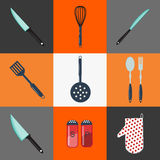 kaczki formularzowi kuchenni ładni poparcia naczynia sprzęt kuchenny nóż widelce Kuchenny Cutlery household ilustracja wektor