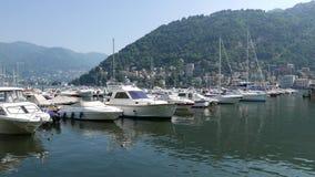 Kaczki pływają wśród łodzi cumować w marina Jeziorny Como zdjęcie wideo