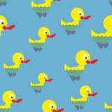 Kaczki pływanie w stawowym bezszwowym wzorze Waterbird w morzu Zdjęcia Royalty Free