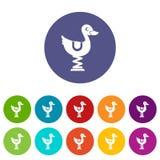 Kaczki przejażdżka w boisko ustalonych ikonach Zdjęcia Royalty Free