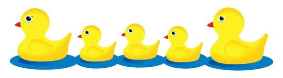 kaczki rodziny guma Zdjęcia Royalty Free