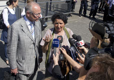 Kada Hotic at Mladic trial. The Hague, Holland - June 3, 2011: Kada Hotic of 'Mothers of Srebrenica' and lawyer Axel Hagedorn are interviewed by the press at the royalty free stock images