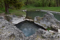 Kada, natural thermal spring in Liptovský Ján. Slovakia with free entry stock photo