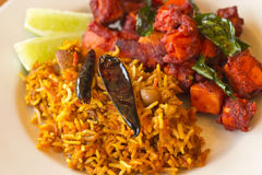 Kadai Paneer with Tamarind Rice Royalty Free Stock Photos