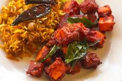 Kadai Paneer with Tamarind Rice Stock Photo