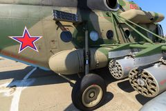 Missile launcher of heavy military helicopter MI-8AMTSH Stock Images