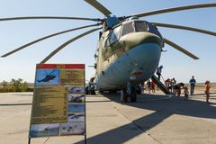 Transport universal military helicopter MI-26 and visitors of the exhibition. KADAMOVSKIY TRAINING GROUND, ROSTOV REGION, RUSSIA, 26 AUGUST 2018: Transport royalty free stock photos