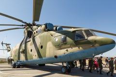 Transport universal military helicopter MI-26 and visitors of. KADAMOVSKIY TRAINING GROUND, ROSTOV REGION, RUSSIA, 26 AUGUST 2018: Transport universal military stock image