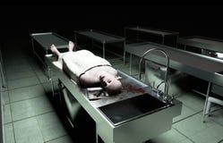 Kadaver död manlig kropp i bårhus på ståltabellen lik Obduktionbegrepp framförande 3d Arkivbild