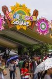 Kadayawan kvadrerar, ett ställe av perfoemancen för den Indak-Indak konkurrensen under den Kadayawan festivalen 2018 royaltyfri fotografi