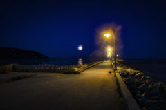 Kade in de nachtscène van Baai st-Paul Royalty-vrije Stock Fotografie