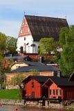 Kade Porvoo, schuren, Kathedraal Stock Foto's
