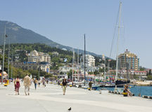 Kade in stad Yalta, de Krim Royalty-vrije Stock Foto's
