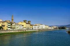 Kade van Arno River in Florence stock afbeelding