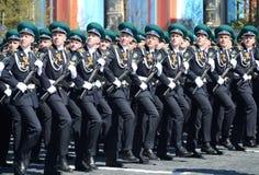Kadeci Moskwa granicy instytut FSB Rosja na Ogólnej parady próbie w placu czerwonym na cześć zwycięstwo dzień Obraz Royalty Free