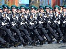 Kadeci Moskwa granicy instytut FSB Rosja na Ogólnej parady próbie w placu czerwonym na cześć zwycięstwo dzień Zdjęcie Royalty Free