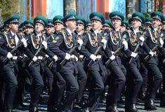 Kadeci Moskwa granicy instytut FSB Rosja na Ogólnej parady próbie w placu czerwonym na cześć zwycięstwo dzień Zdjęcia Royalty Free