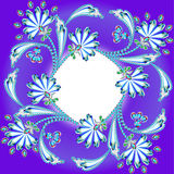 Kader als achtergrond die met bloemen van edelstenen en strook wordt gemaakt Royalty-vrije Stock Afbeelding