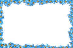 Kader in de vorm van blauwe madeliefjes Stock Afbeeldingen