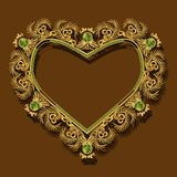 Kader in de vorm van hart gouden kleur met schaduw Royalty-vrije Stock Afbeelding