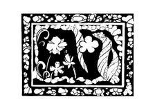 Kader en bloemen, vectorillustratie Royalty-vrije Stock Afbeeldingen