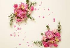 kader en boeketten van roze bloemen stock foto's