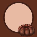 Kader en een ronde chocoladecake Stock Afbeeldingen