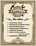 Kader en etiket voor de manusje van allesdiensten in retro stijl De populaire Amerikaanse idiomatische uitdrukkingen worden gebru Royalty-vrije Stock Fotografie