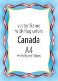 Kader en grens van lint met de kleuren van de vlag van Canada Royalty-vrije Stock Foto