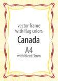 Kader en grens van lint met de kleuren van de vlag van Canada Stock Foto's