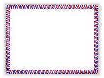 Kader en grens van lint met de vlag van Paraguay 3D Illustratie Stock Afbeelding
