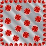 Kader en klavertjevieren van harten, zilveren achtergrond wordt gemaakt die Royalty-vrije Stock Foto