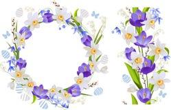 Kader en naadloze grens met de lentebloemen Stock Fotografie