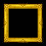 Kader houten Gesneden die patroon op een zwarte achtergrond wordt geïsoleerd Royalty-vrije Stock Foto's