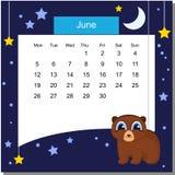 Kader met bier Kalender 2017 juni De week begint maandag Stock Afbeeldingen