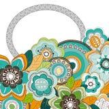 Kader met blauwe sinaasappel groene bloemen Royalty-vrije Stock Afbeelding