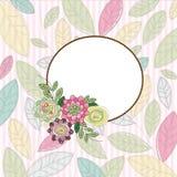 Kader met bloemen en bladeren Stock Foto's