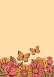 Kader met bloemen en vlinders Stock Afbeelding