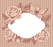 Kader met bloemen en vlinders Stock Afbeeldingen