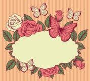 Kader met bloemen en vlinders Royalty-vrije Stock Afbeelding