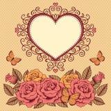 Kader met bloemen, vlinders en hart Stock Afbeeldingen